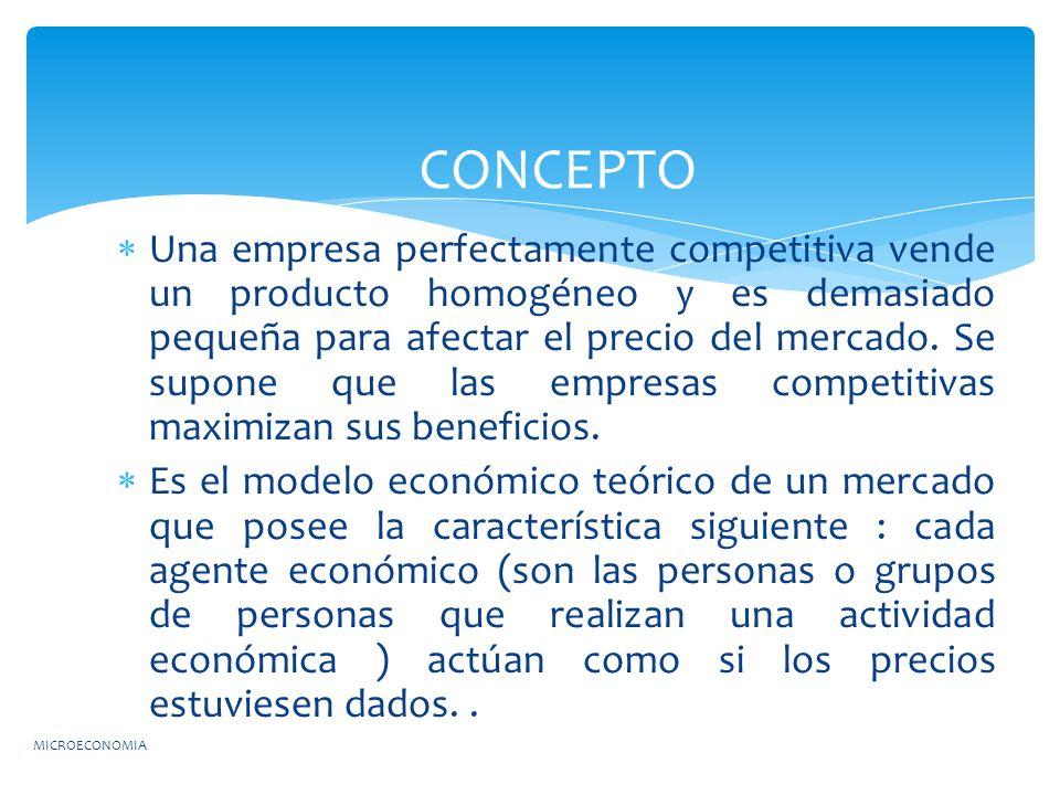 Una empresa perfectamente competitiva vende un producto homogéneo y es demasiado pequeña para afectar el precio del mercado. Se supone que las empresa
