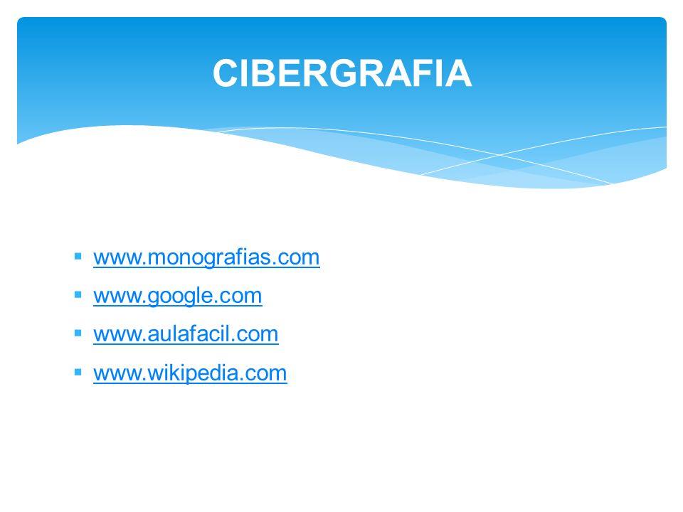 www.monografias.com www.google.com www.aulafacil.com www.wikipedia.com CIBERGRAFIA