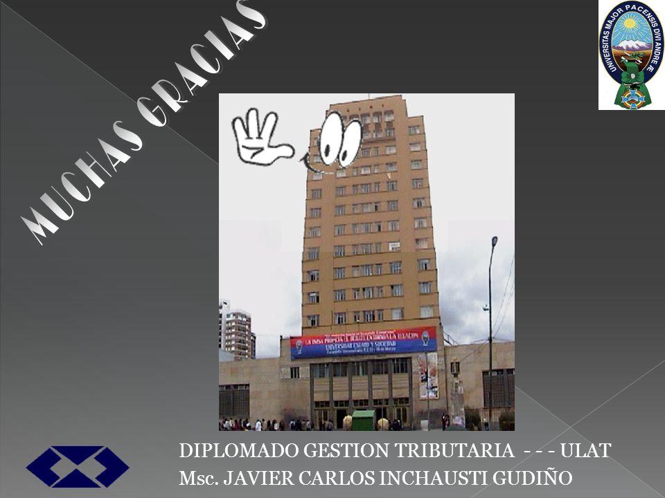 DIPLOMADO GESTION TRIBUTARIA - - - ULAT Msc. JAVIER CARLOS INCHAUSTI GUDIÑO