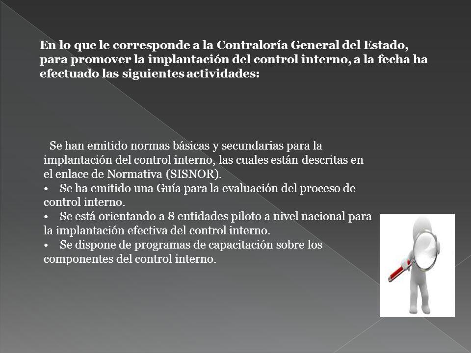 En lo que le corresponde a la Contraloría General del Estado, para promover la implantación del control interno, a la fecha ha efectuado las siguiente