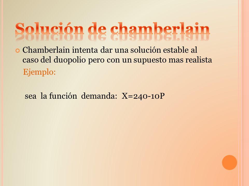 Chamberlain intenta dar una solución estable al caso del duopolio pero con un supuesto mas realista Ejemplo: sea la función demanda: X=240-10P