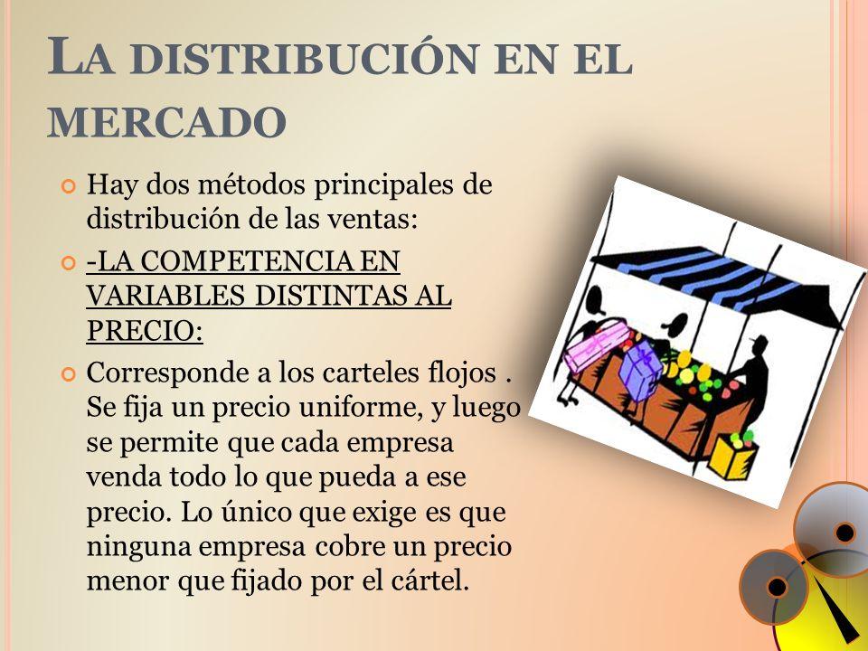 L A DISTRIBUCIÓN EN EL MERCADO Hay dos métodos principales de distribución de las ventas: -LA COMPETENCIA EN VARIABLES DISTINTAS AL PRECIO: Correspond