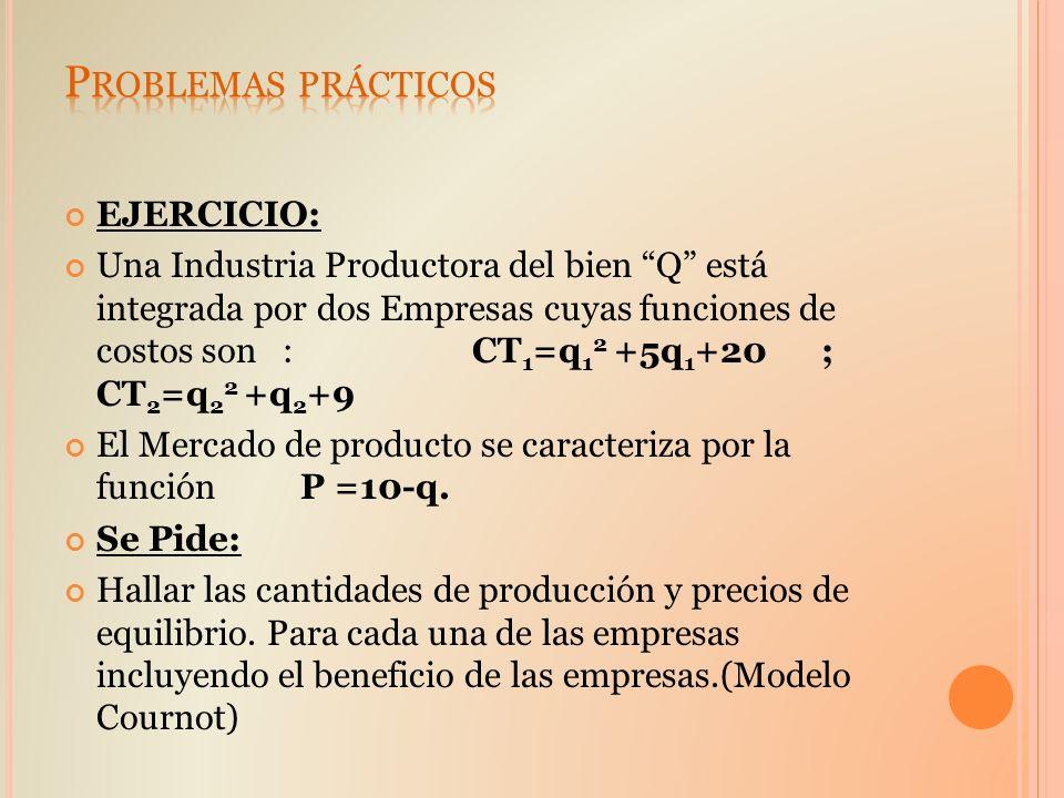 EJERCICIO: Una Industria Productora del bien Q está integrada por dos Empresas cuyas funciones de costos son : CT 1 =q 1 2 +5q 1 +20 ; CT 2 =q 2 2 +q