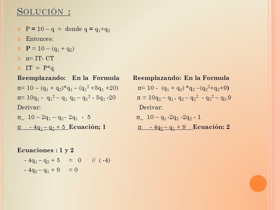 S OLUCIÓN : P = 10 – q = donde q = q 1 +q 2 Entonces: P = 10 – (q 1 + q 2 ) π= IT- CT IT = P*q Reemplazando: En la Formula π= 10 – (q 1 + q 2 )*q 1 –