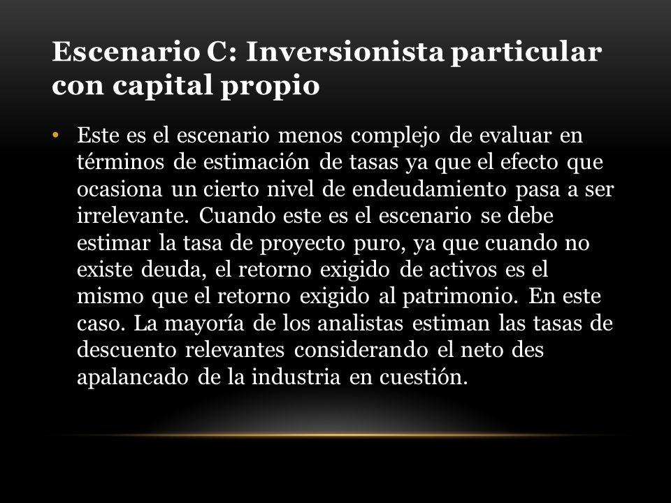 Escenario C: Inversionista particular con capital propio Este es el escenario menos complejo de evaluar en términos de estimación de tasas ya que el efecto que ocasiona un cierto nivel de endeudamiento pasa a ser irrelevante.