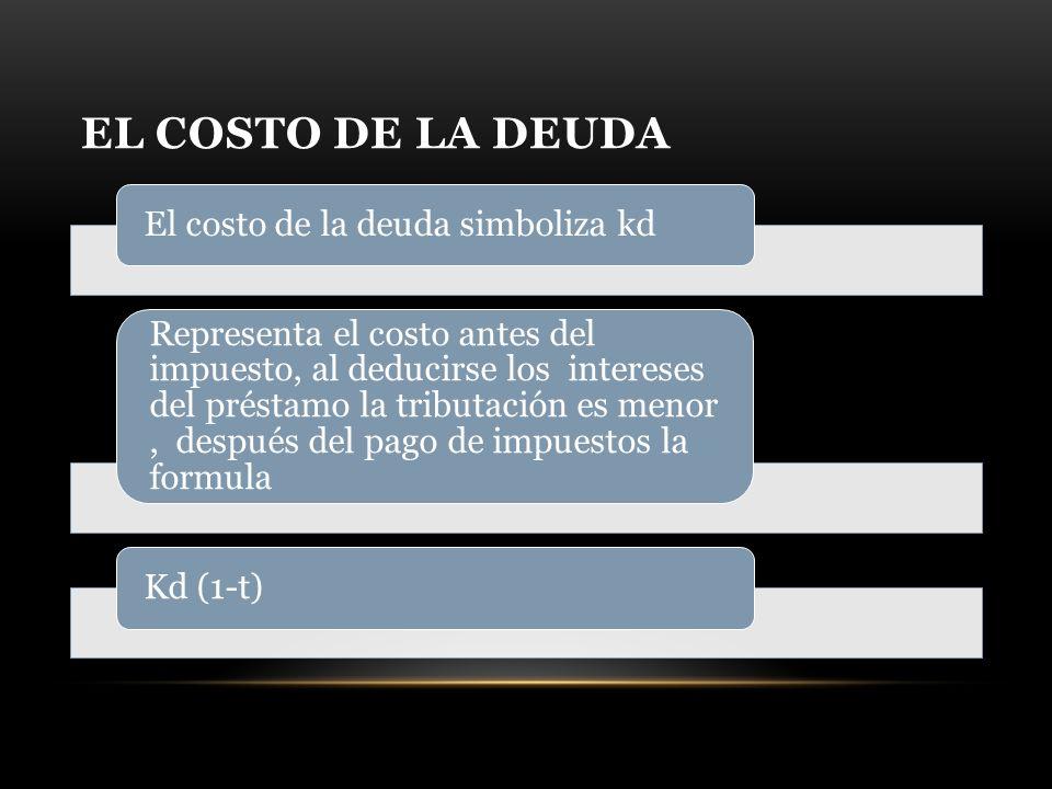 EL COSTO DE LA DEUDA El costo de la deuda simboliza kd Representa el costo antes del impuesto, al deducirse los intereses del préstamo la tributación es menor, después del pago de impuestos la formula Kd (1-t)