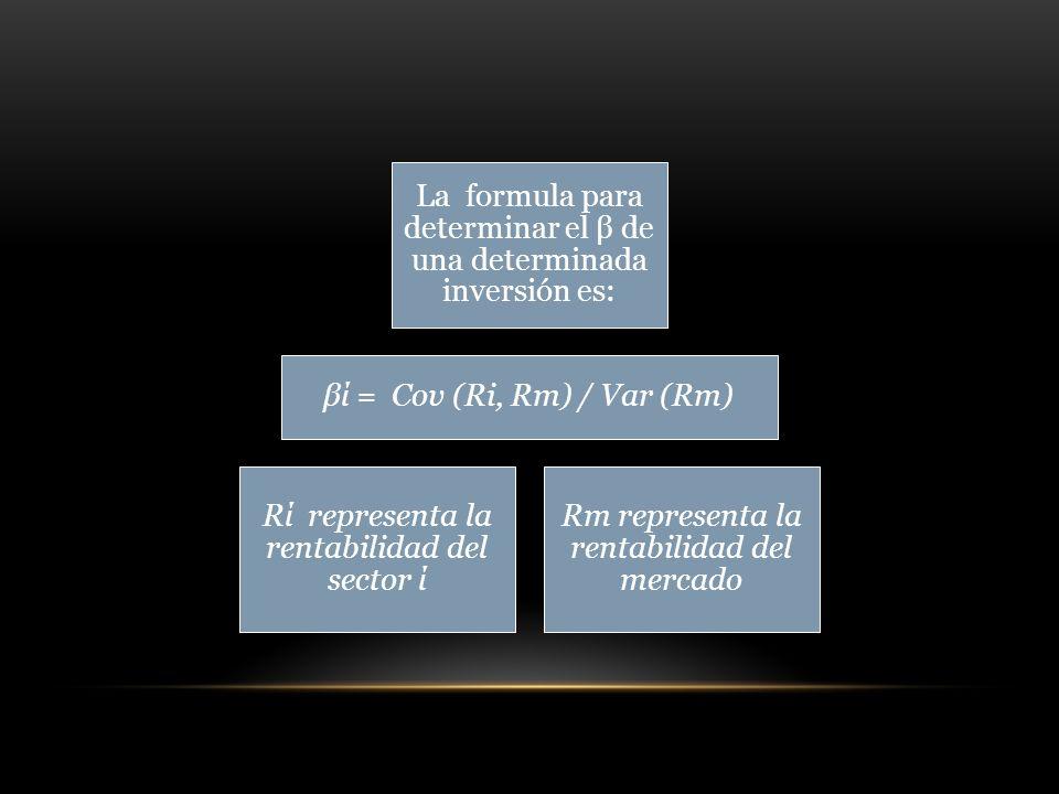 La formula para determinar el β de una determinada inversión es: βί = Cov (Ri, Rm) / Var (Rm) Rί representa la rentabilidad del sector ί Rm representa la rentabilidad del mercado