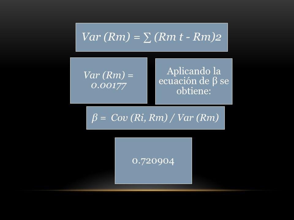 Var (Rm) = (Rm t - Rm)2 Var (Rm) = 0.00177 0.720904 Aplicando la ecuación de β se obtiene: β = Cov (Ri, Rm) / Var (Rm)