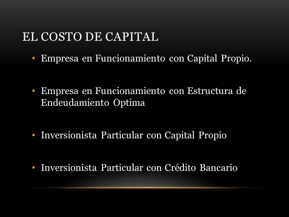 EL COSTO DE CAPITAL Empresa en Funcionamiento con Capital Propio.