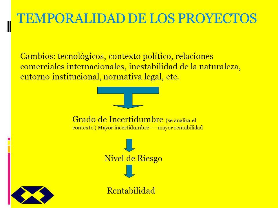 TEMPORALIDAD DE LOS PROYECTOS Cambios: tecnológicos, contexto político, relaciones comerciales internacionales, inestabilidad de la naturaleza, entorn