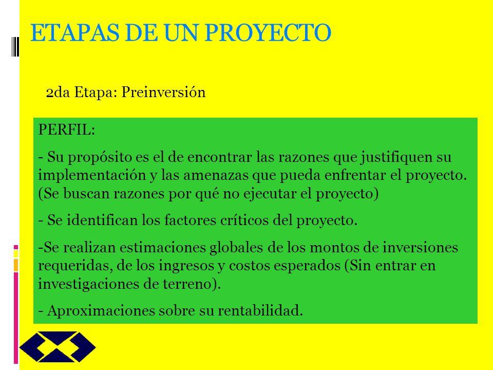 ETAPAS DE UN PROYECTO 2da Etapa: Preinversión PERFIL: - Su propósito es el de encontrar las razones que justifiquen su implementación y las amenazas q