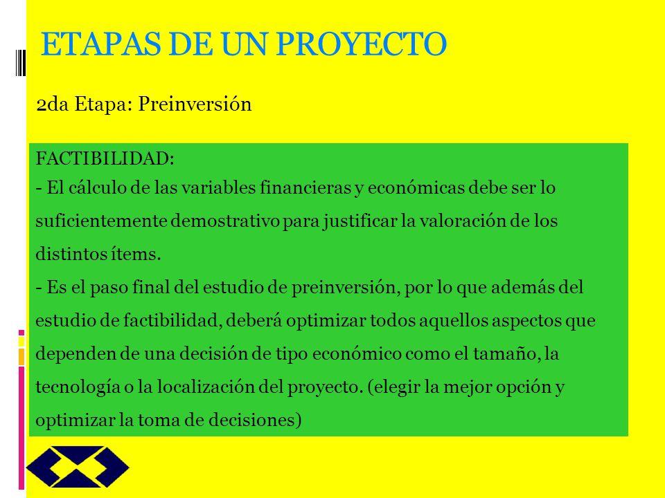 ETAPAS DE UN PROYECTO 2da Etapa: Preinversión FACTIBILIDAD: - El cálculo de las variables financieras y económicas debe ser lo suficientemente demostr