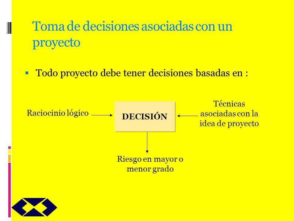 Toma de decisiones asociadas con un proyecto Todo proyecto debe tener decisiones basadas en : DECISIÓN Raciocinio lógico Riesgo en mayor o menor grado