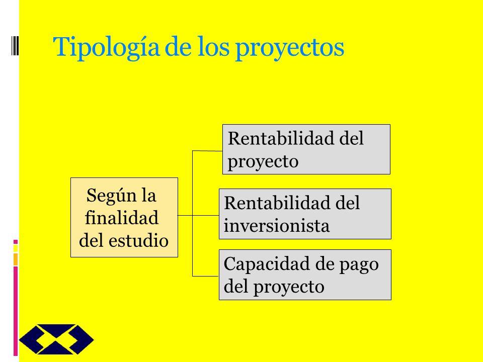 Tipología de los proyectos Según la finalidad del estudio Rentabilidad del proyecto Rentabilidad del inversionista Capacidad de pago del proyecto
