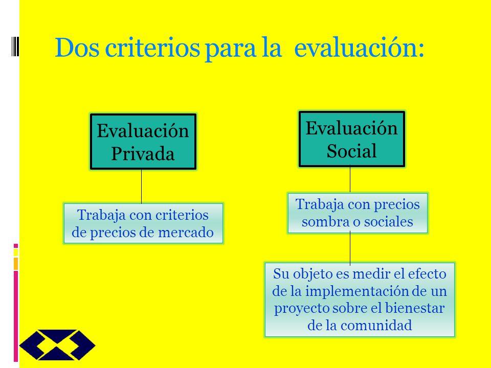 Dos criterios para la evaluación: Evaluación Privada Evaluación Social Trabaja con criterios de precios de mercado Trabaja con precios sombra o social