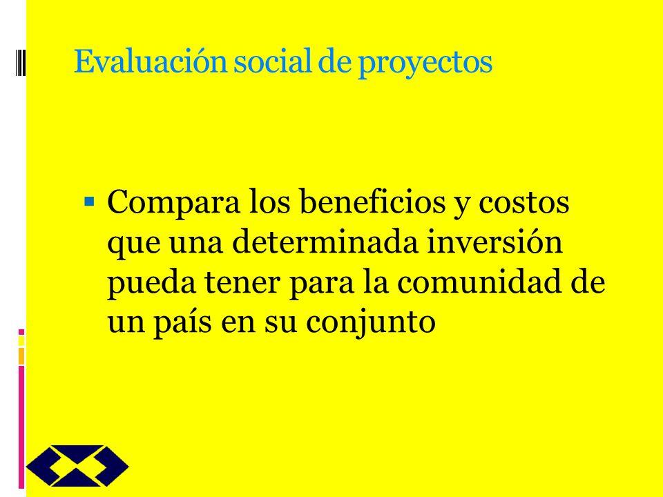 Evaluación social de proyectos Compara los beneficios y costos que una determinada inversión pueda tener para la comunidad de un país en su conjunto