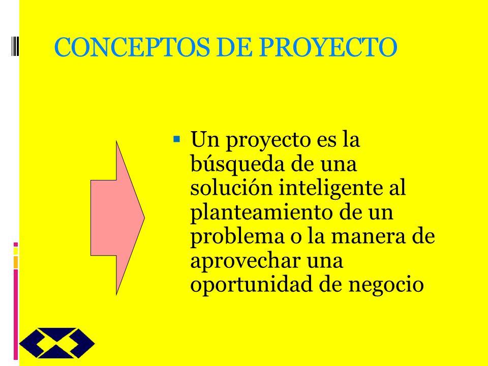 CONCEPTOS DE PROYECTO Un proyecto es la búsqueda de una solución inteligente al planteamiento de un problema o la manera de aprovechar una oportunidad
