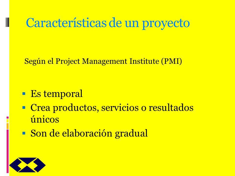 Características de un proyecto Es temporal Crea productos, servicios o resultados únicos Son de elaboración gradual Según el Project Management Instit