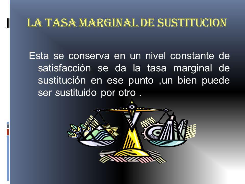 LA TASA MARGINAL DE SUSTITUCION Esta se conserva en un nivel constante de satisfacción se da la tasa marginal de sustitución en ese punto,un bien pued