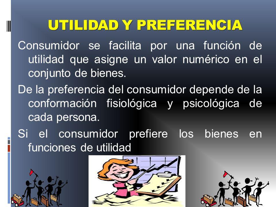 UTILIDAD Y PREFERENCIA Consumidor se facilita por una función de utilidad que asigne un valor numérico en el conjunto de bienes. De la preferencia del