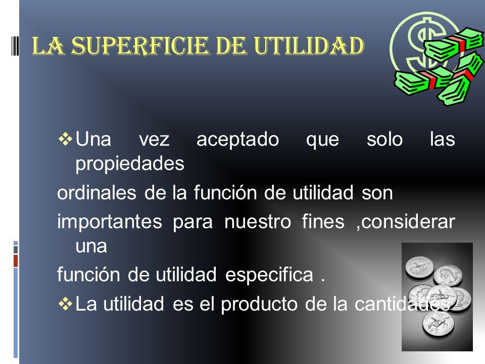 LA SUPERFICIE DE UTILIDAD Una vez aceptado que solo las propiedades ordinales de la función de utilidad son importantes para nuestro fines,considerar
