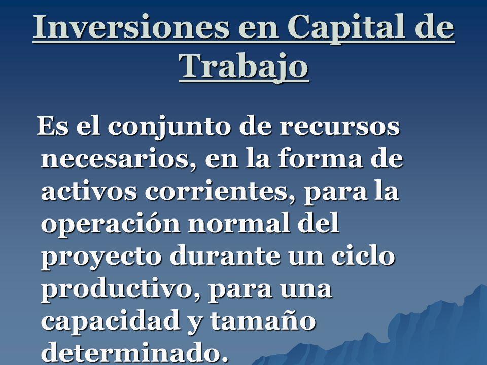 Inversiones en Capital de Trabajo Es el conjunto de recursos necesarios, en la forma de activos corrientes, para la operación normal del proyecto dura