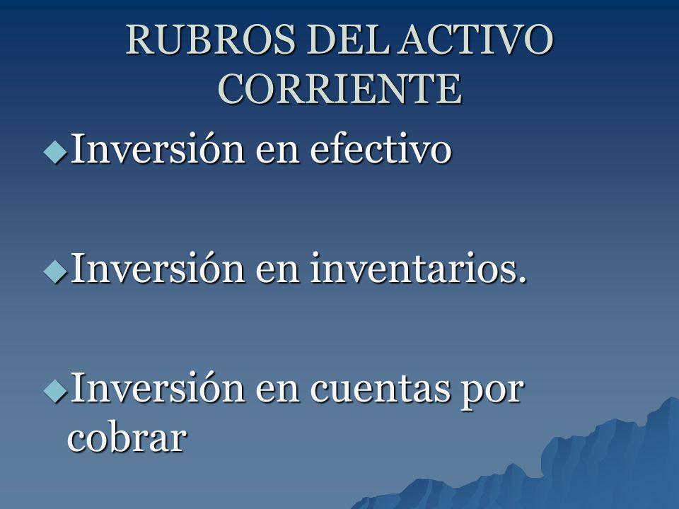 RUBROS DEL ACTIVO CORRIENTE Inversión en efectivo Inversión en efectivo Inversión en inventarios. Inversión en inventarios. Inversión en cuentas por c