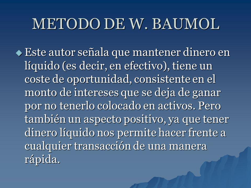 METODO DE W. BAUMOL Este autor señala que mantener dinero en líquido (es decir, en efectivo), tiene un coste de oportunidad, consistente en el monto d