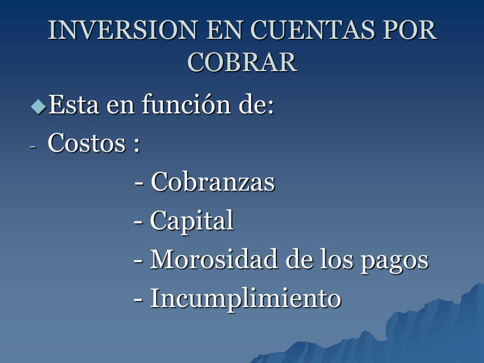 INVERSION EN CUENTAS POR COBRAR Esta en función de: Esta en función de: - Costos : - Cobranzas - Cobranzas - Capital - Capital - Morosidad de los pago