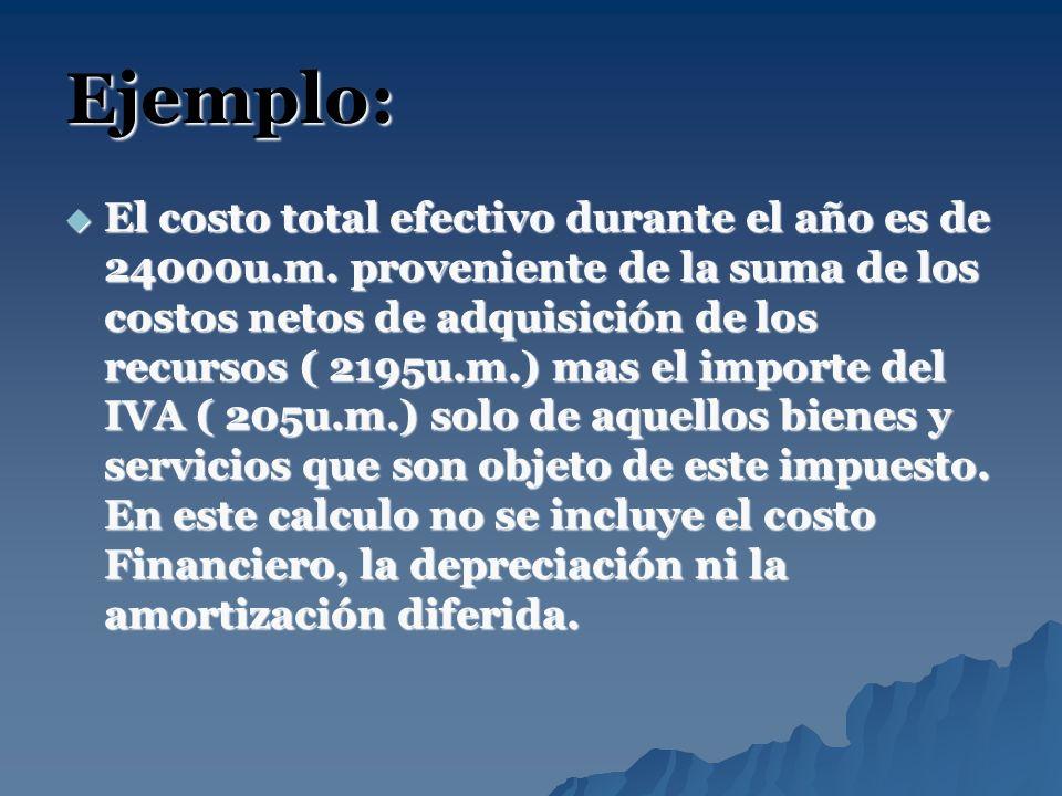 Ejemplo: El costo total efectivo durante el año es de 24000u.m. proveniente de la suma de los costos netos de adquisición de los recursos ( 2195u.m.)