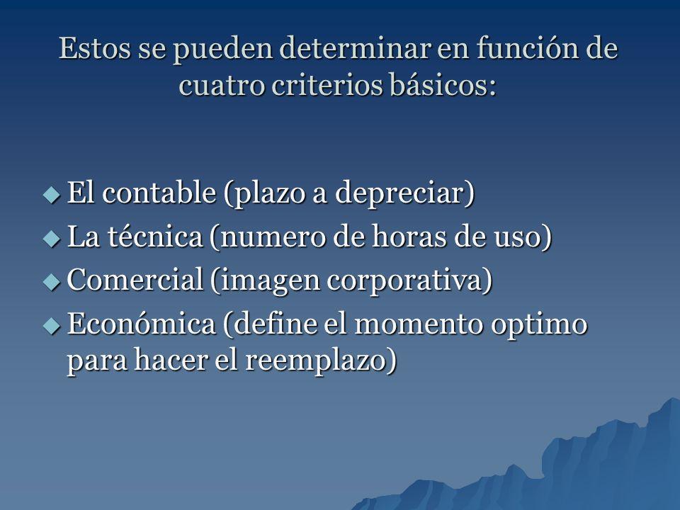 Estos se pueden determinar en función de cuatro criterios básicos: El contable (plazo a depreciar) El contable (plazo a depreciar) La técnica (numero