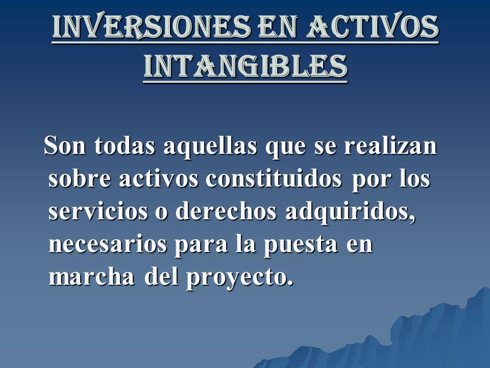 Inversiones en Activos Intangibles Son todas aquellas que se realizan sobre activos constituidos por los servicios o derechos adquiridos, necesarios p