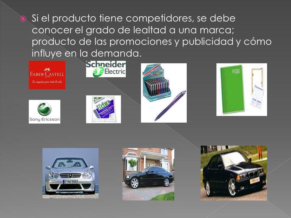 Si el producto tiene competidores, se debe conocer el grado de lealtad a una marca; producto de las promociones y publicidad y cómo influye en la dema