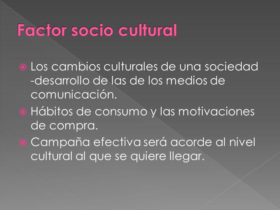 Los cambios culturales de una sociedad -desarrollo de las de los medios de comunicación. Hábitos de consumo y las motivaciones de compra. Campaña efec