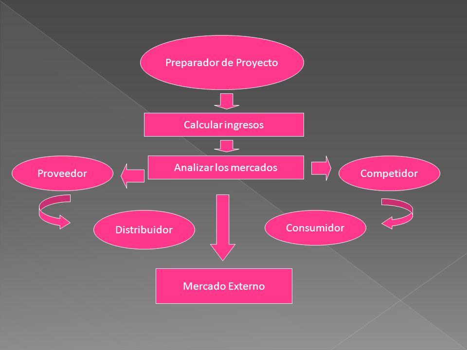 Preparador de Proyecto Calcular ingresos Analizar los mercados ProveedorCompetidor Distribuidor Consumidor Mercado Externo