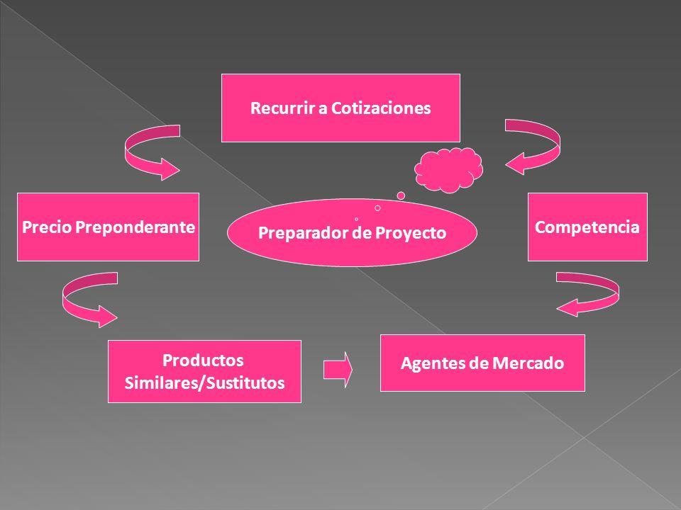 Preparador de Proyecto Recurrir a Cotizaciones Precio PreponderanteCompetencia Productos Similares/Sustitutos Agentes de Mercado