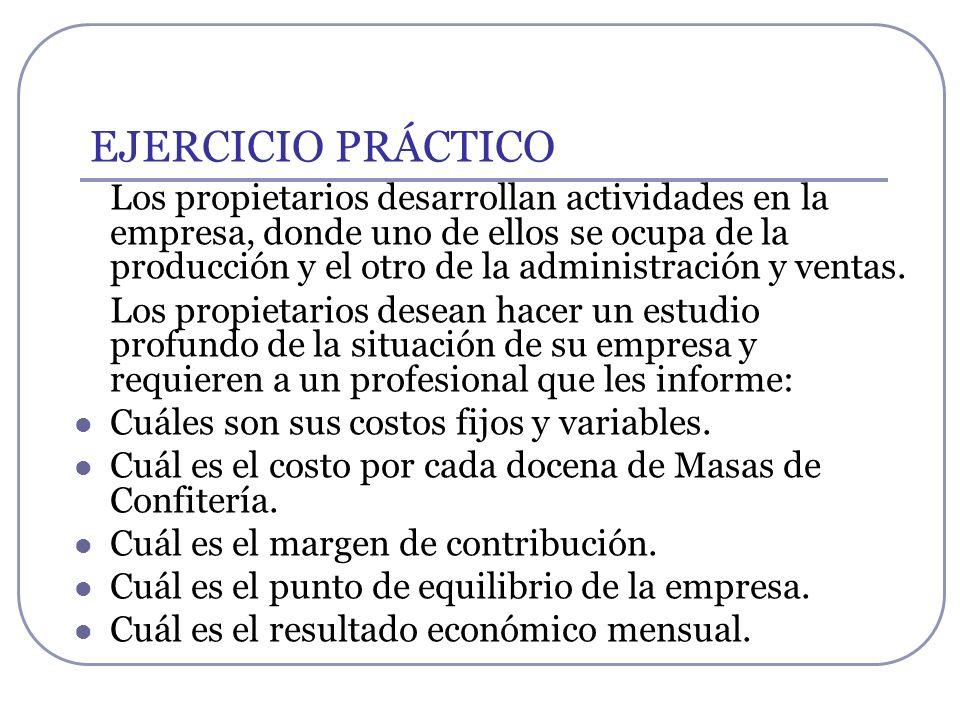 EJERCICIO PRÁCTICO Los propietarios desarrollan actividades en la empresa, donde uno de ellos se ocupa de la producción y el otro de la administración