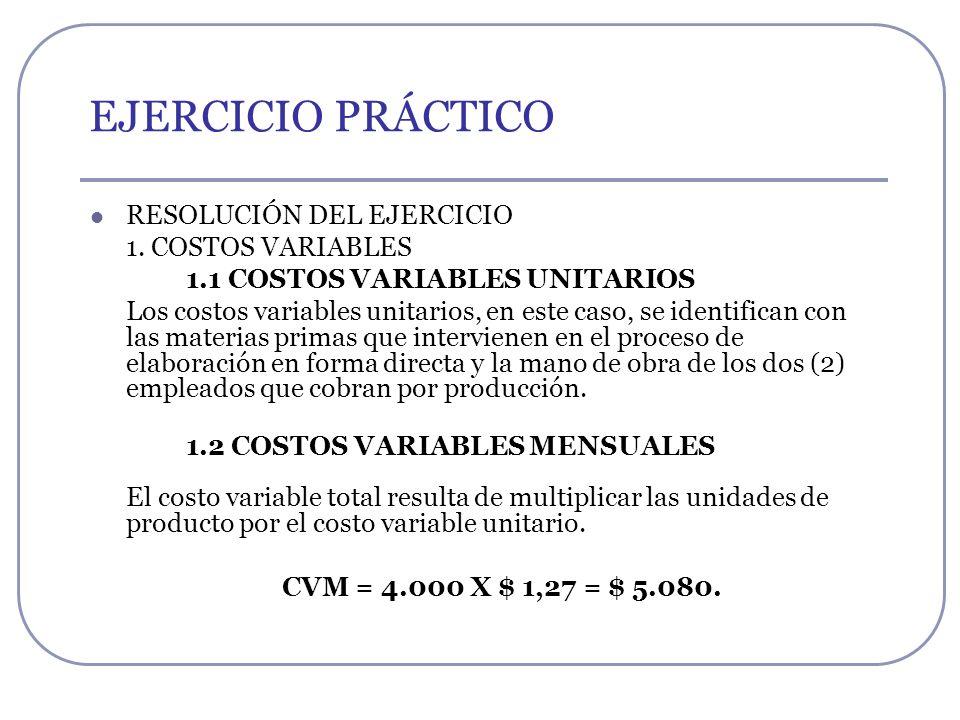 EJERCICIO PRÁCTICO RESOLUCIÓN DEL EJERCICIO 1. COSTOS VARIABLES 1.1 COSTOS VARIABLES UNITARIOS Los costos variables unitarios, en este caso, se identi