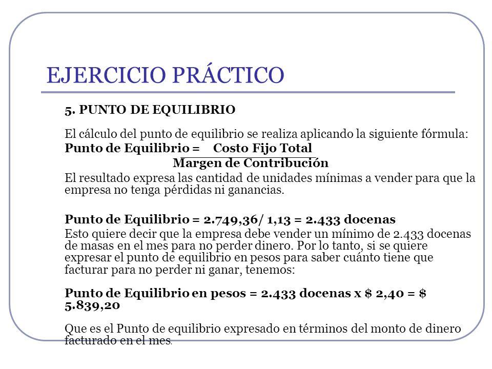 EJERCICIO PRÁCTICO 5. PUNTO DE EQUILIBRIO El cálculo del punto de equilibrio se realiza aplicando la siguiente fórmula: Punto de Equilibrio = Costo Fi
