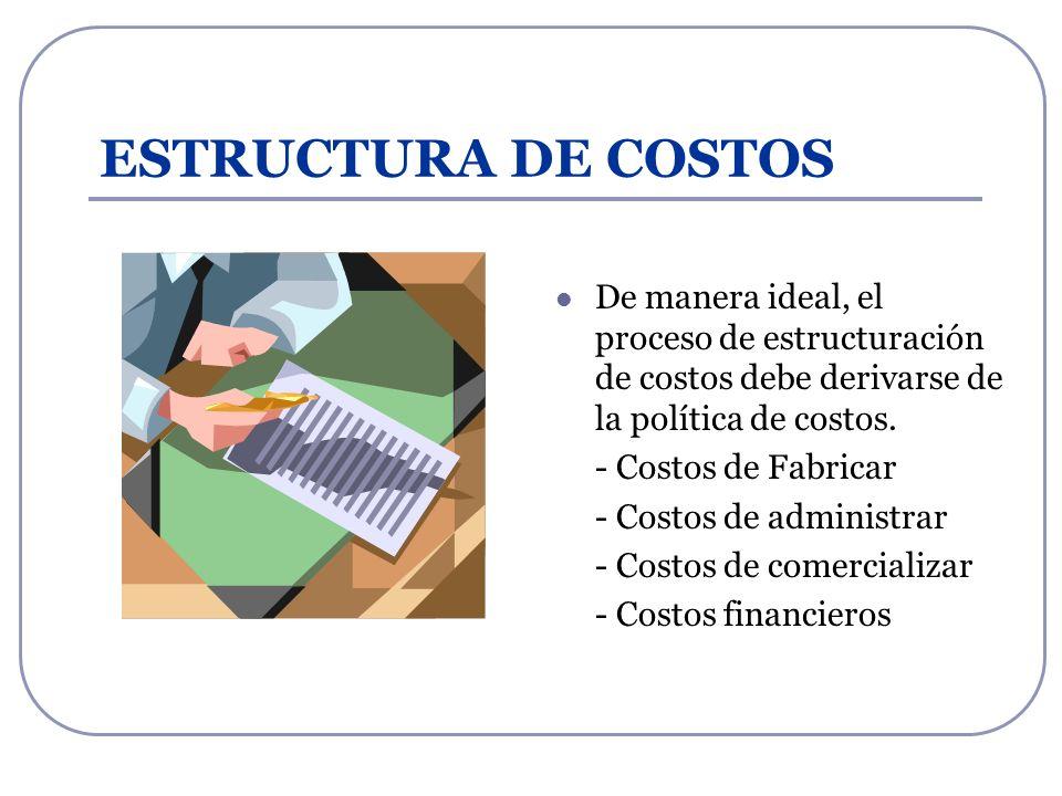 ESTRUCTURA DE COSTOS De manera ideal, el proceso de estructuración de costos debe derivarse de la política de costos. - Costos de Fabricar - Costos de