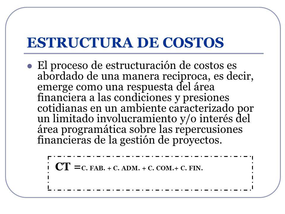 ESTRUCTURA DE COSTOS El proceso de estructuración de costos es abordado de una manera reciproca, es decir, emerge como una respuesta del área financie