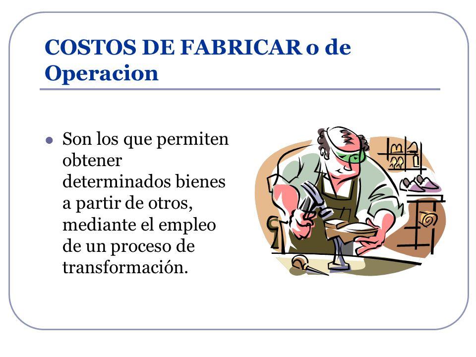 COSTOS DE FABRICAR o de Operacion Son los que permiten obtener determinados bienes a partir de otros, mediante el empleo de un proceso de transformaci