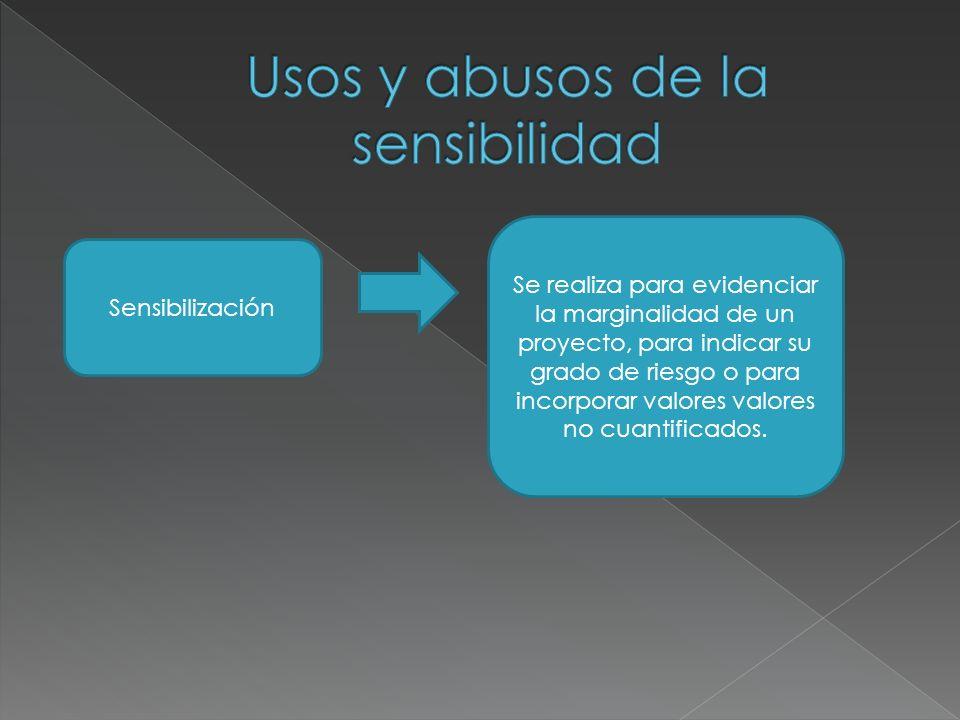 Sensibilización Se realiza para evidenciar la marginalidad de un proyecto, para indicar su grado de riesgo o para incorporar valores valores no cuantificados.