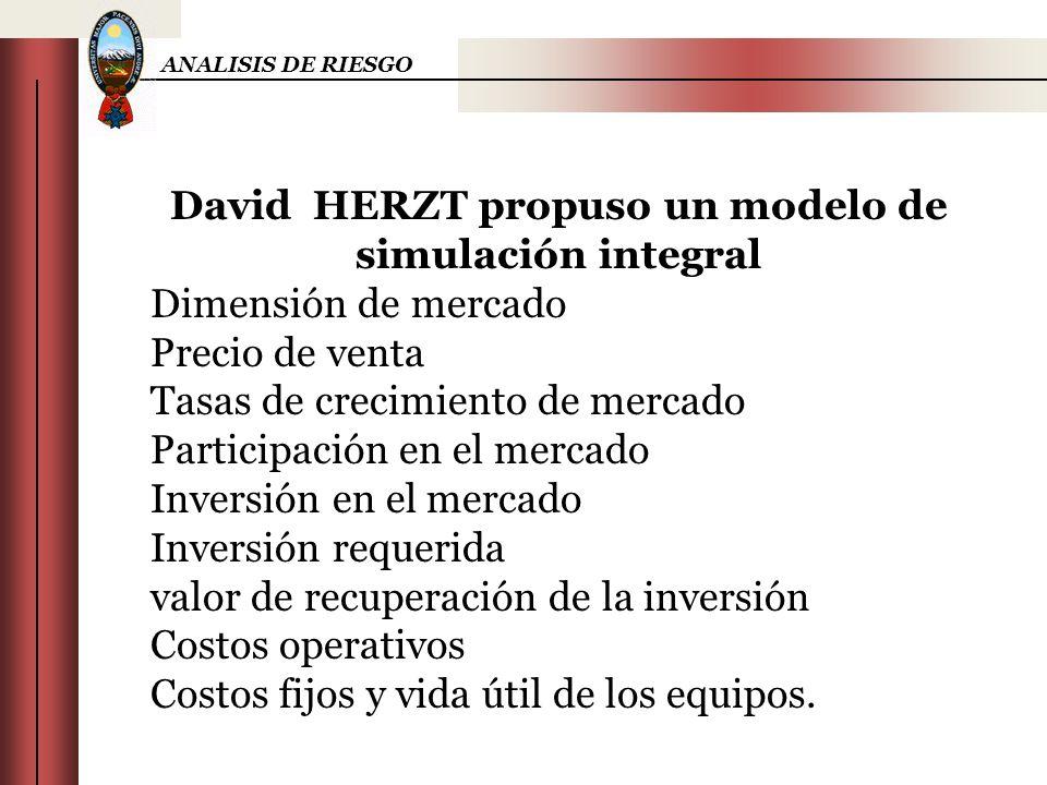 ANALISIS DE RIESGO David HERZT propuso un modelo de simulación integral Dimensión de mercado Precio de venta Tasas de crecimiento de mercado Participa