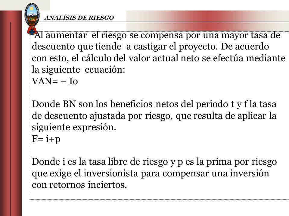 ANALISIS DE RIESGO Al aumentar el riesgo se compensa por una mayor tasa de descuento que tiende a castigar el proyecto. De acuerdo con esto, el cálcul