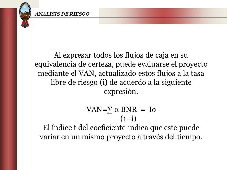 ANALISIS DE RIESGO Al expresar todos los flujos de caja en su equivalencia de certeza, puede evaluarse el proyecto mediante el VAN, actualizado estos