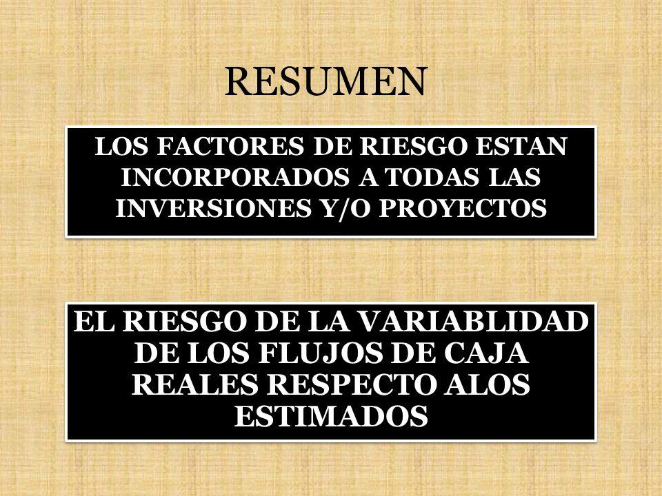 RESUMEN LOS FACTORES DE RIESGO ESTAN INCORPORADOS A TODAS LAS INVERSIONES Y/O PROYECTOS EL RIESGO DE LA VARIABLIDAD DE LOS FLUJOS DE CAJA REALES RESPE
