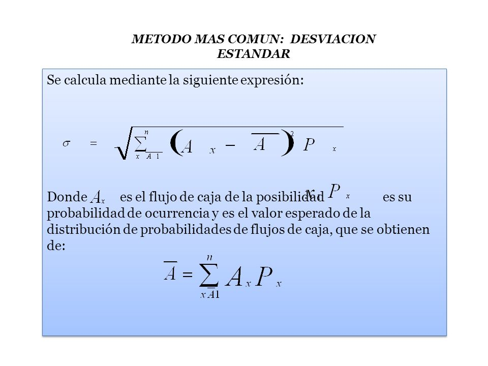 Ejemplo: Supóngase la existencia de un proyecto que presente la siguiente distribución de probabilidades de sus flujos de caja estimados: X Probabilidad PxFlujo de caja Ax 10,10800 20,201.000 30,301.200 Aplicando la formula del valor esperado de la distribución de probabilidades, se tiene: Px (Ax) 0,10(800) = 80 0,20(1.000) = 200 0,30(1.200) = 360