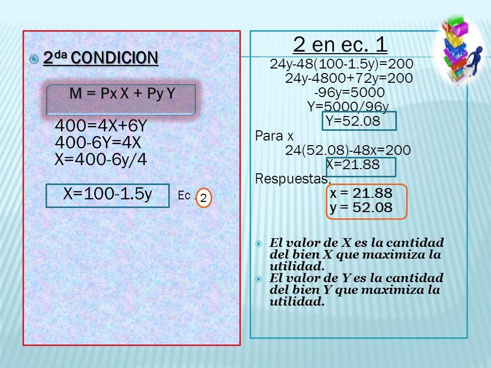 2 da CONDICION 2 da CONDICION 400=4X+6Y 400-6Y=4X X=400-6y/4 X=100-1.5y Ec. 2 2 en ec. 1 24y-48(100-1.5y)=200 24y-4800+72y=200 -96y=5000 Y=5000/96y Y=