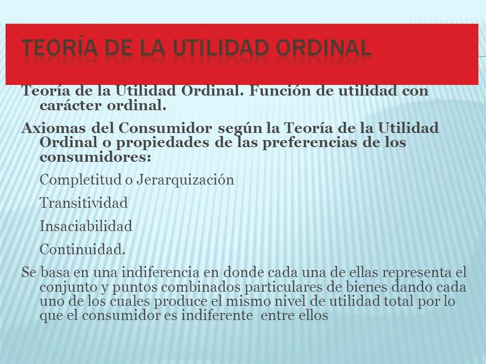 Teoría de la Utilidad Ordinal. Función de utilidad con carácter ordinal. Axiomas del Consumidor según la Teoría de la Utilidad Ordinal o propiedades d